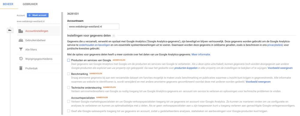 AVG / GDPR Google Analytics gegevens delen uitzetten
