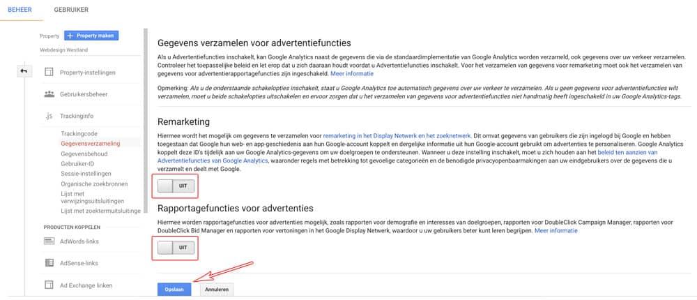 AVG / GDPR Google Analytics gegevens delen voor advertentiedoeleinden uitzetten