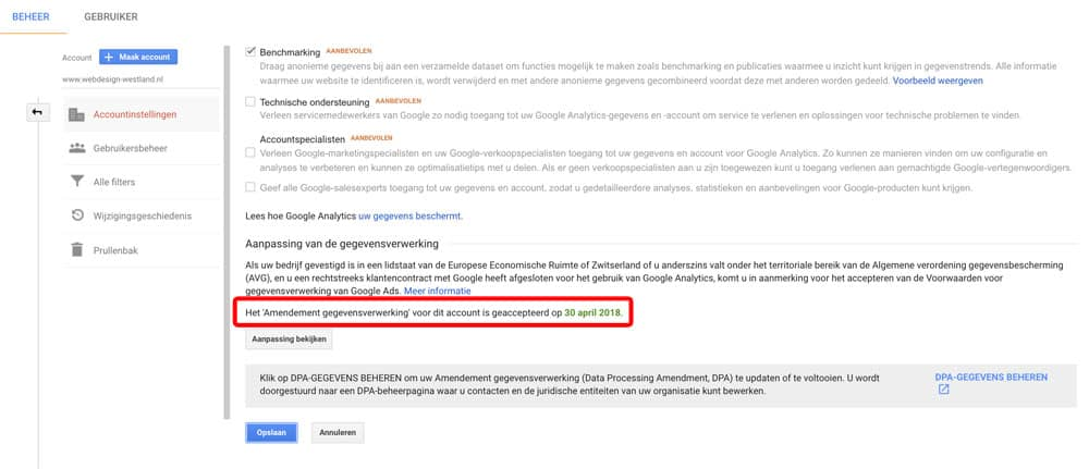 Bewerkersovereenkomst Google Analytics