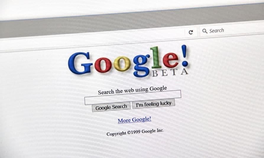 Wanneer is Google opgericht - Een schermafbeelding van de beginjaren van Google in 1999