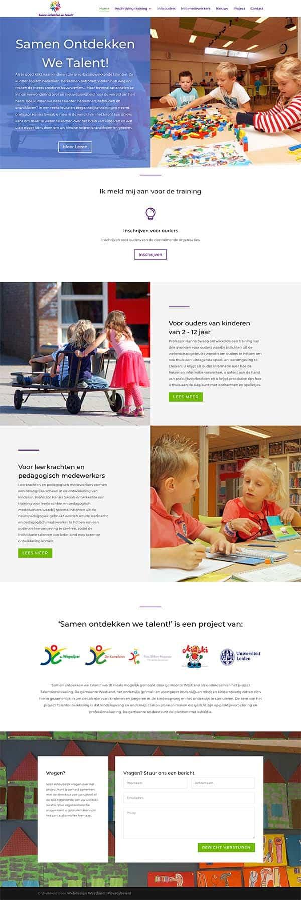 Webdesign bureau Westland maakt een professionele website voor samenontdekkenwetalent