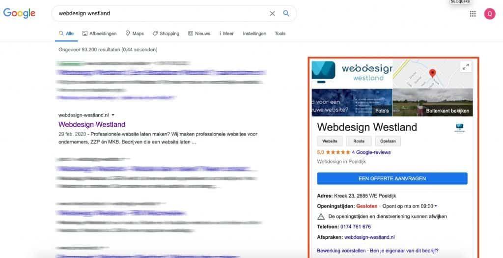 Google Mijn Bedrijf vermelding